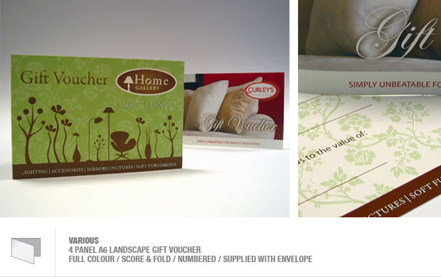 design and print of gift vouchers