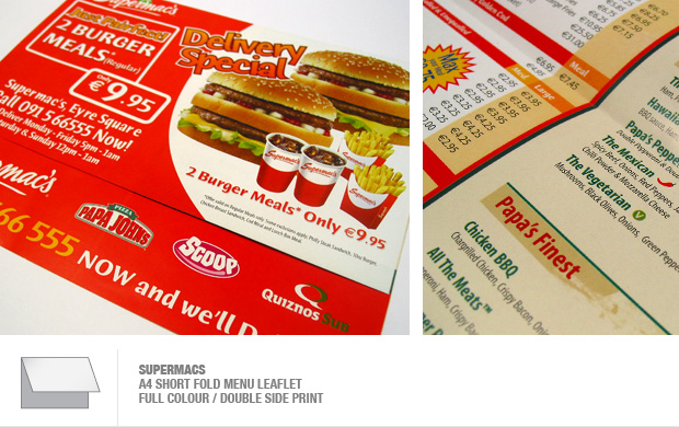 design and print of menus and leaflets